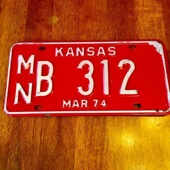 1974 Kansas License Plate MNB 312