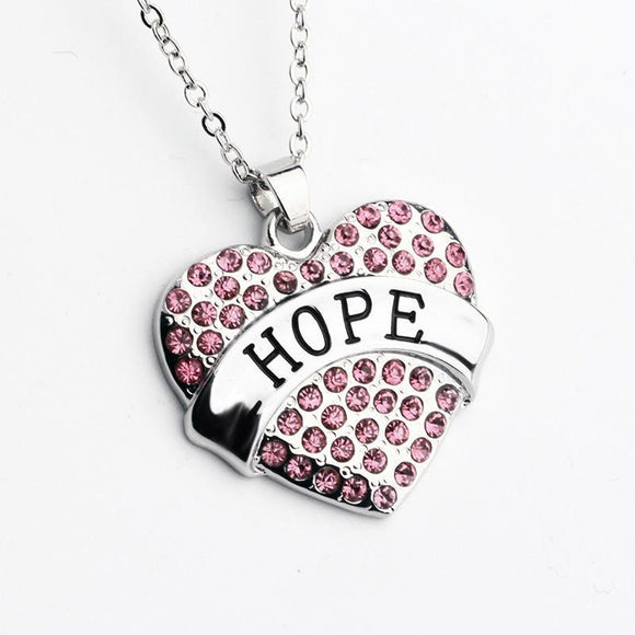 Pink Crystal HOPE Heart Necklace - Synonyco.com