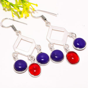 Red Garnet Blue Onyx Dangle Earrings - Synonyco.com