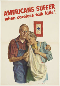 Vintage Style WWII Careless Talk Kills Canvas Poster 12x17 - Synonyco.com