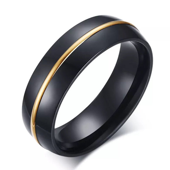 Stainless Steel Black/Gold Band Ring - Synonyco.com