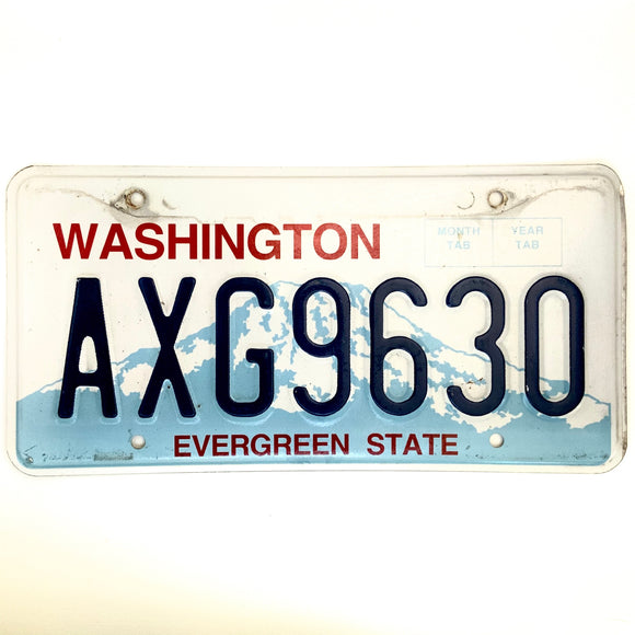 Washington License Plate AXG9630