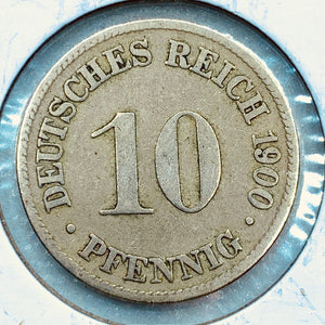 1900 D German Empire 10 Pfennig Coin