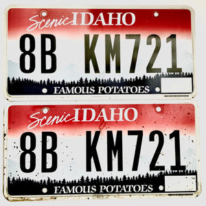 Idaho License Plate Pair 8B KM721