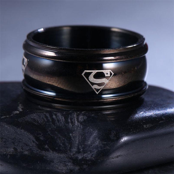 10mm Black Stainless Steel Superman Fashion Ring