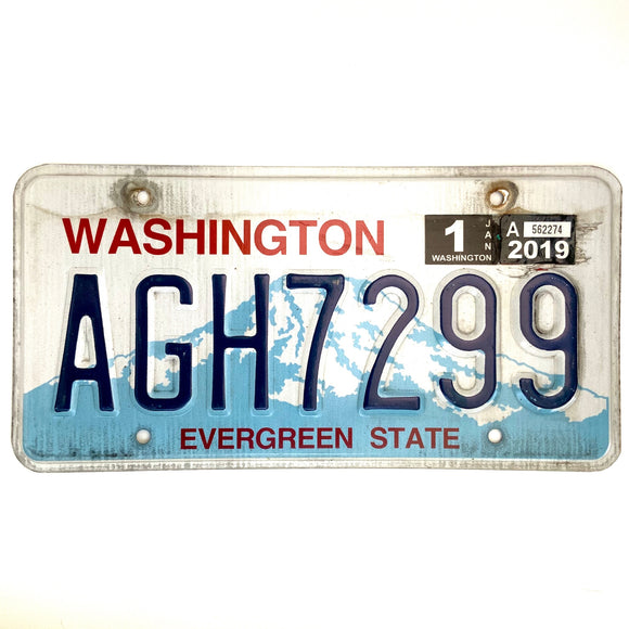 2019 Washington License Plate AGH7299