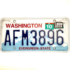 2019 Washington License Plate AFM3896