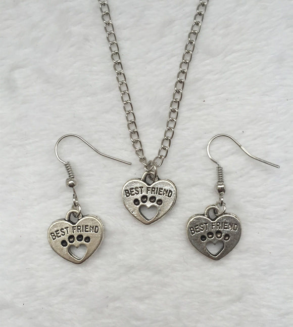Best Friend Paw Print Heart Jewelry Set