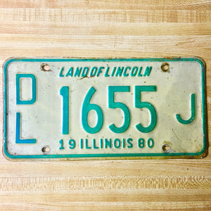 1980 Illinois License Plate Pair DL 1655 J