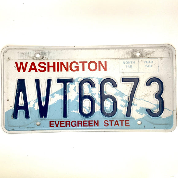 Washington License Plate AVT6673