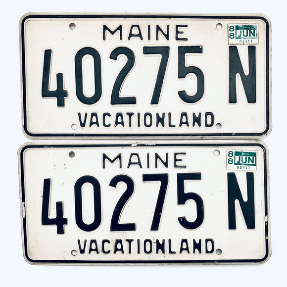 1988 Maine License Plate Pair 40275 N