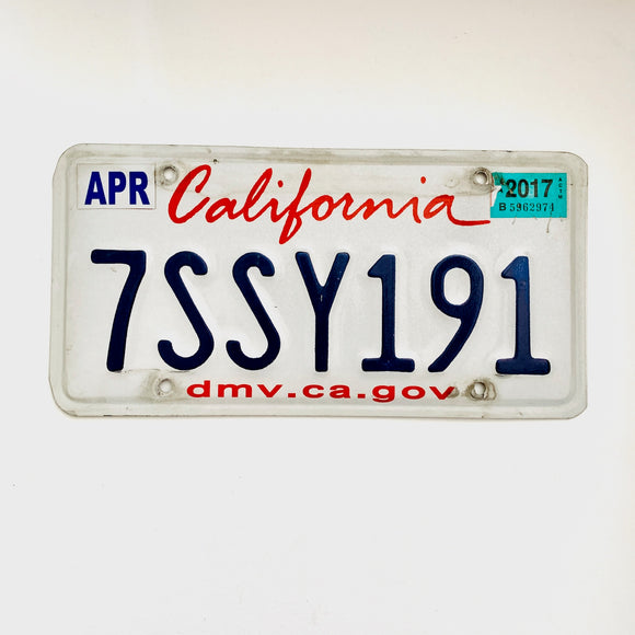 2017 California License Plate 7SSY191