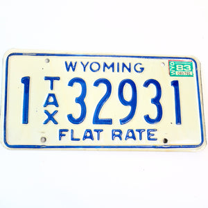 1983 Wyoming Flat Tax Natrona County License Plate 32931 - Synonyco.com