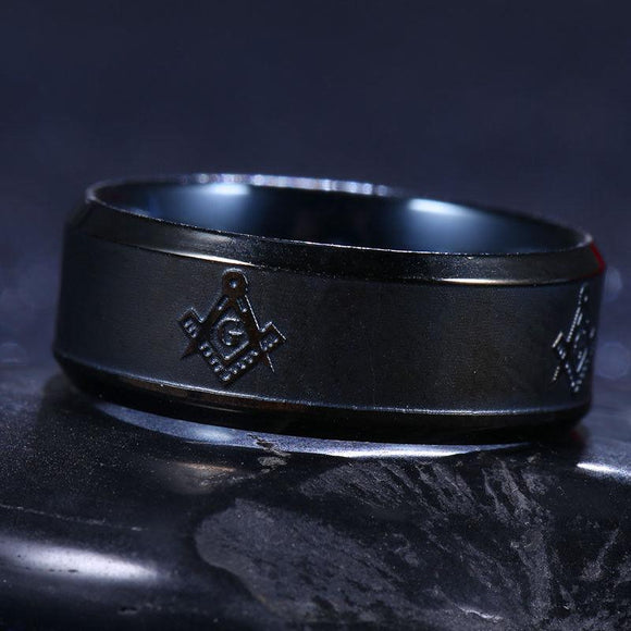 Masonic 8mm Black Stainless Steel Band Ring - Synonyco.com