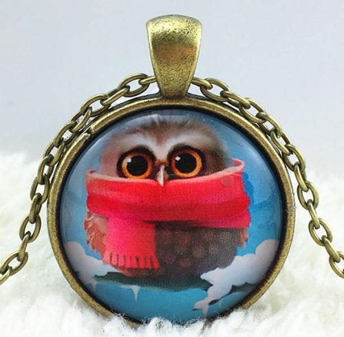 Chilly Owl Glass Cabochon Necklace - Synonyco.com