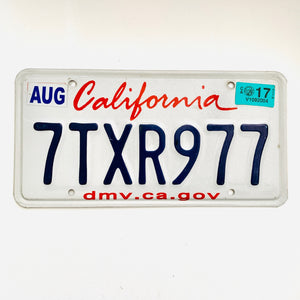 2017 California License Plate 7TXR977