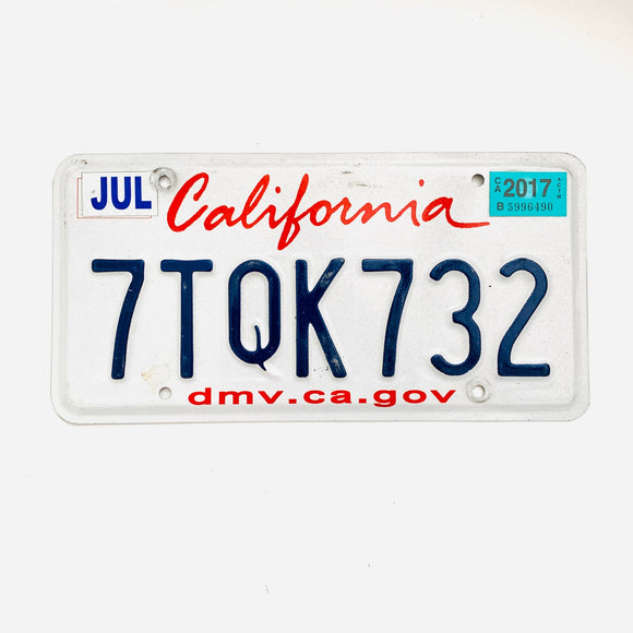 2017 California License Plate 7TQK732