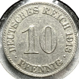 1913 A German Empire 10 Pfennig Coin - Synonyco.com
