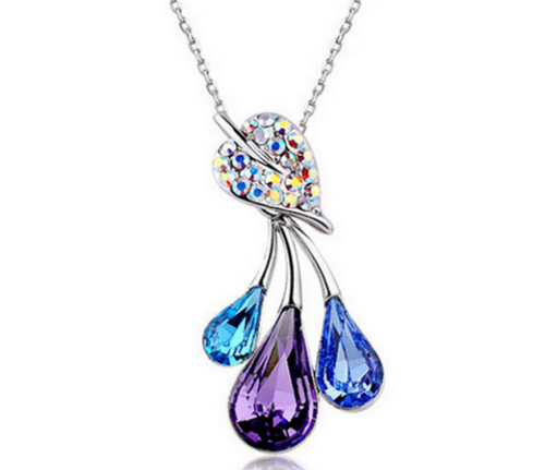 Flower Crystal Rhinestone Necklace - Synonyco.com