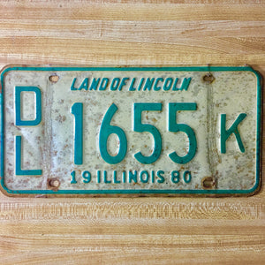 1980 Illinois License Plate Pair DL 1655 K