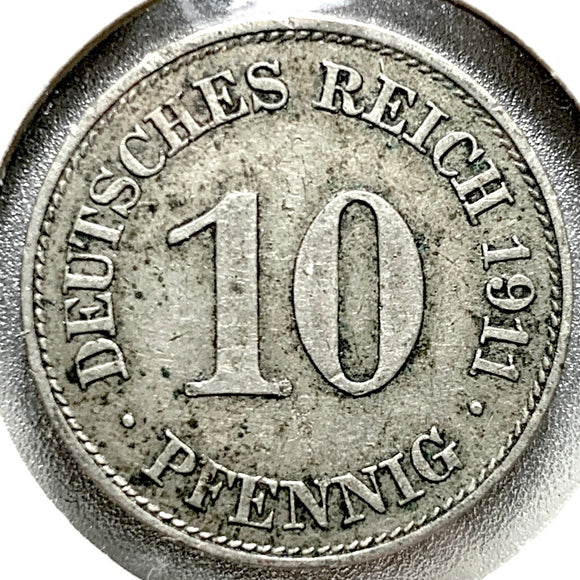1911 E German Empire 10 Pfennig Coin - Synonyco.com