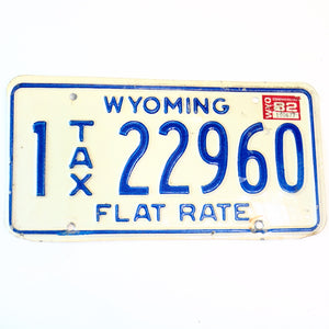 1982 Wyoming Flat Tax Natrona County License Plate 22960 - Synonyco.com