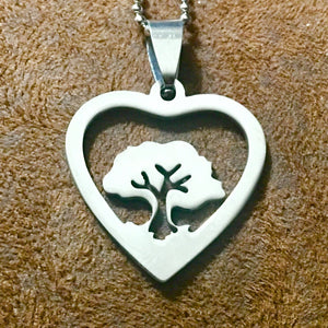 Stainless Steel Tree of Life Heart Necklace - Synonyco.com