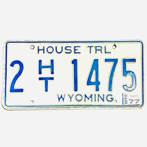 1977 Wyoming Laramie County House Trailer License Plate 2 HT 1475 - Synonyco.com