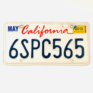 2015 California License Plate 6SPC565