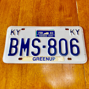 1983 Kentucky License Plate BMS-806