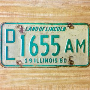 1980 Illinois Dealer License Plate Matched Set DL 1655 AM - Synonyco.com