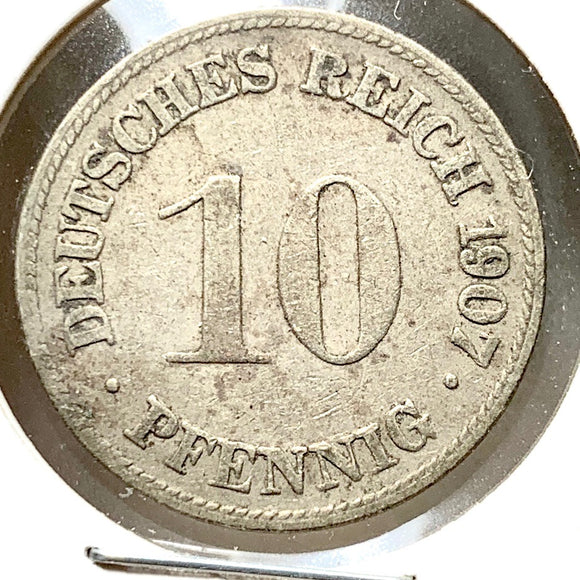 1907 D Germany 10 Pfennig Coin - A0043