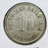 1912 D German Empire 10 Pfennig Coin