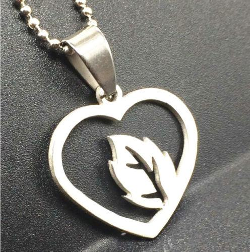 Stainless Steel Heart Leaf Necklace - Synonyco.com