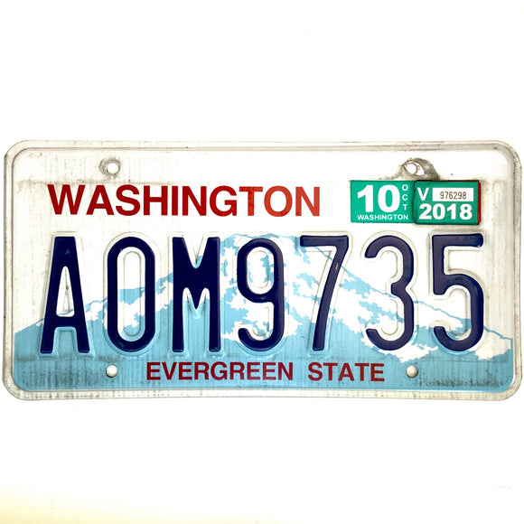 2018 Washington License Plate A0M9735