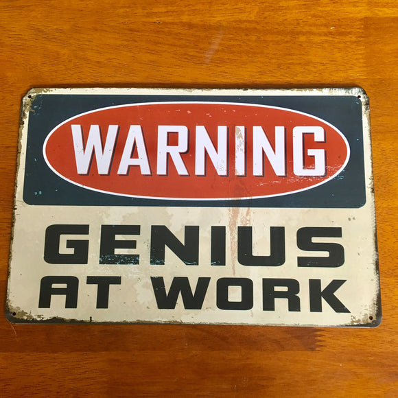 Genius At Work Tin Metal Sign 12x8 - Synonyco.com