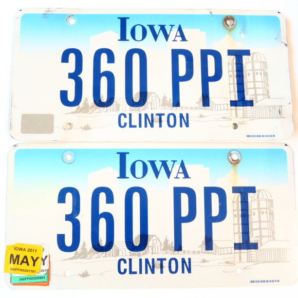 2011 Iowa License Plate Pair 360 PPI