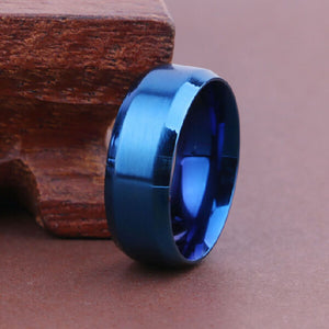 8mm Blue Stainless Steel Ring - Synonyco.com