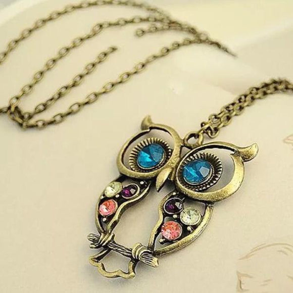 Jeweled Owl Necklace - Synonyco.com