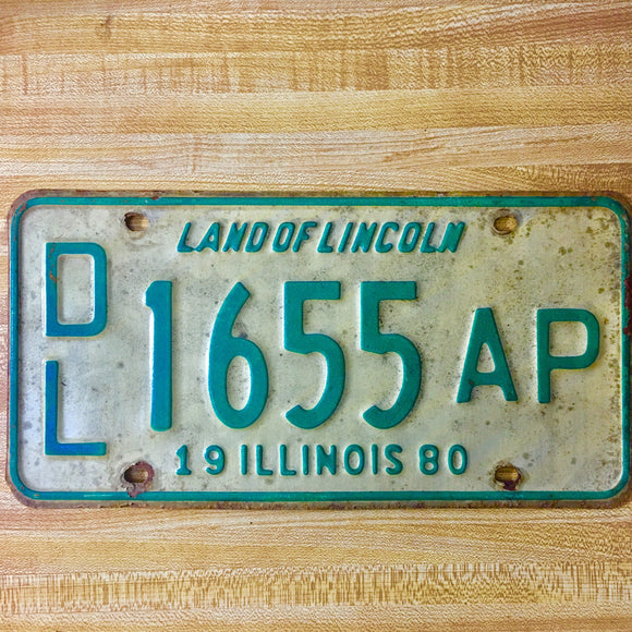 1980 Illinois License Plate Pair DL 1655 AP