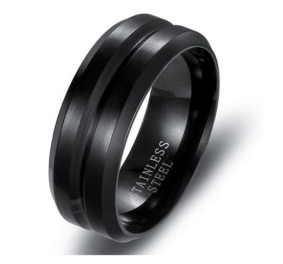 8mm Black Stainless Steel Split Ring - Synonyco.com