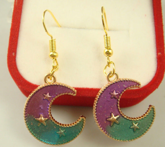 Crescent Moon and Stars Fashion Earrings - Synonyco.com