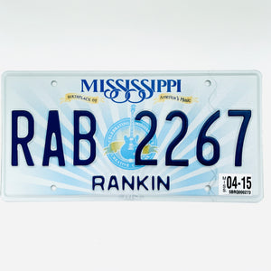 2015 Mississippi License Plate RAB 2267