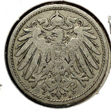 1896 A German Empire 10 Pfennig Coin - Synonyco.com