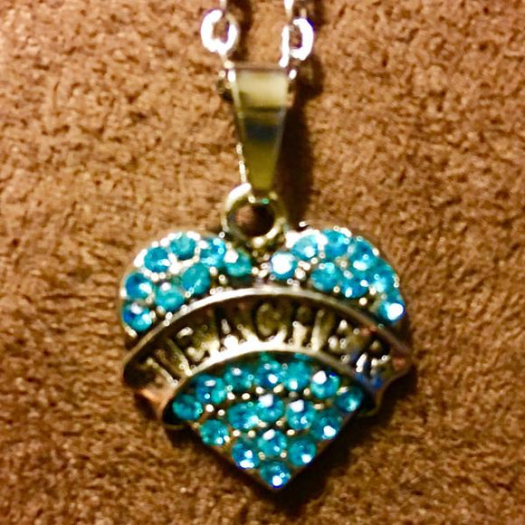 Teal Teacher Heart Necklace