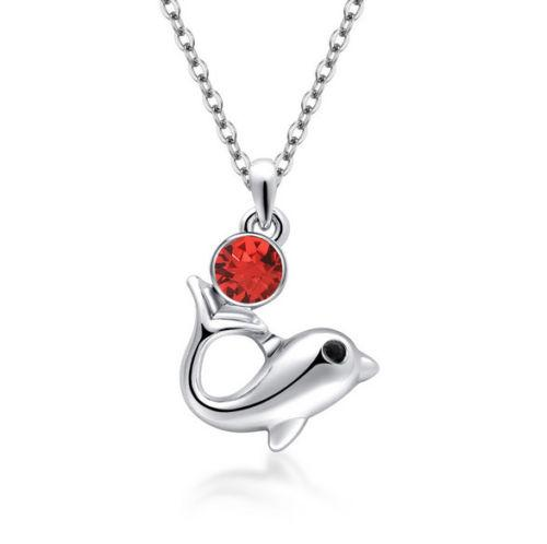 Red Crystal Dolphin Fashion Necklace - Synonyco.com