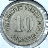 1901 A German Empire 10 Pfennig Coin