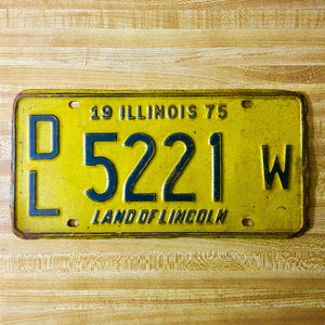 1975 Illinois Dealer License Plate DL 5221 W - Synonyco.com