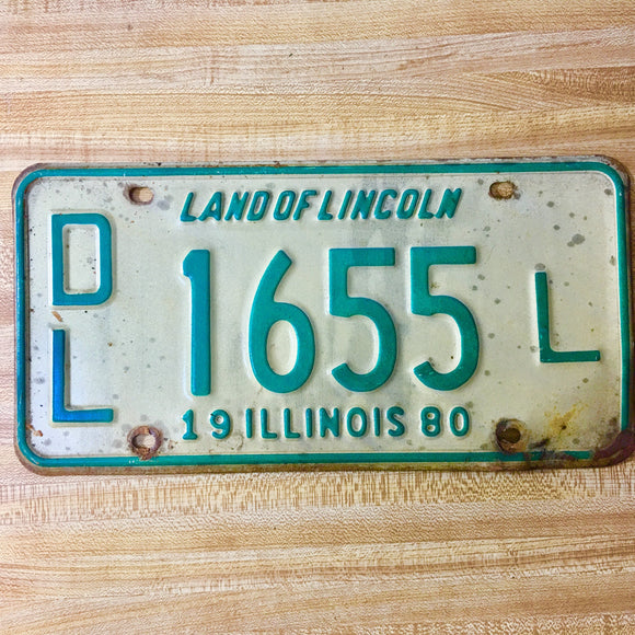 1980 Illinois Dealer License Plate Matched Set DL 1655 L - Synonyco.com