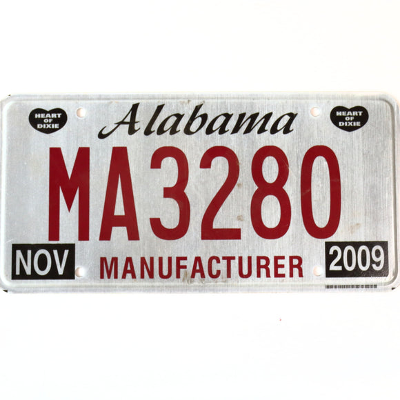 Alabama License Plate MA3280